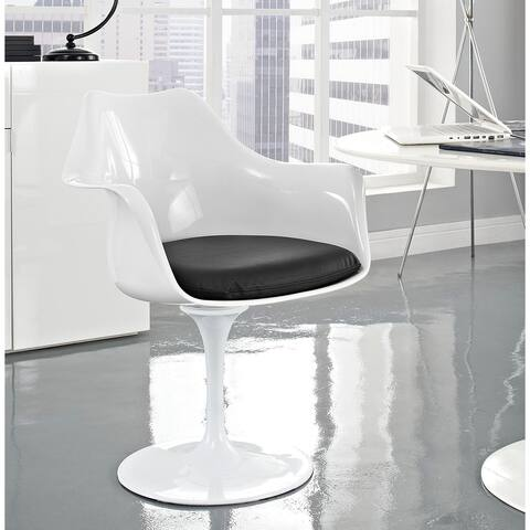 Venice Tulip Style Swivel Arm Chair with Black Vinyl Cushioned Seat