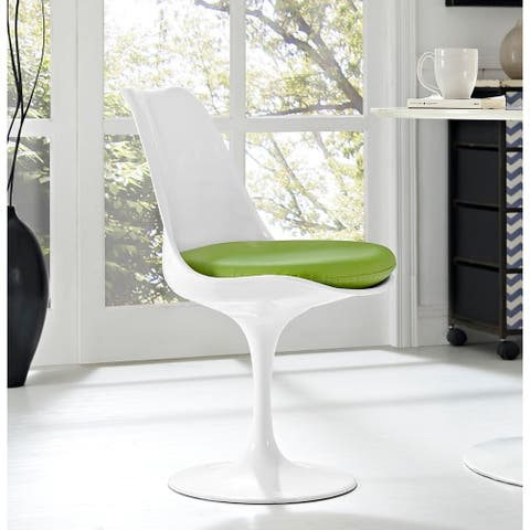 Venice Tulip Style Swivel Dining Chair with Green Vinyl Cushioned Seat