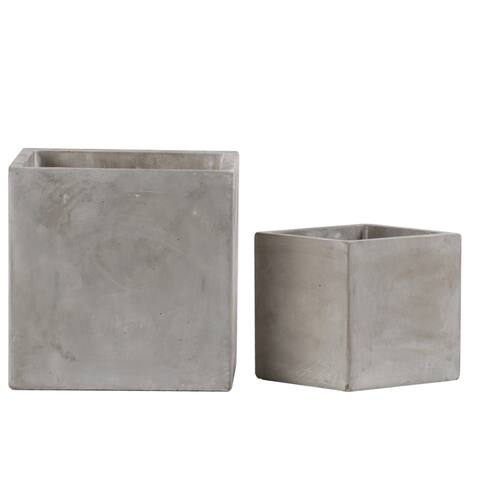 Traditional Square Shaped Cement Pot with Smooth Design, Set of 2, Gray