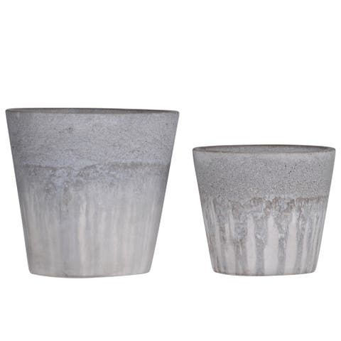 Traditional Tapered Design Cement Pot with Rough Banded Top, Set of 2,Gray