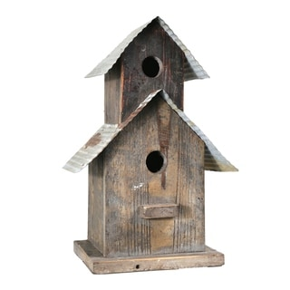Corrugated Metal Top Double Deck Wooden Bird House, Brown and Gray