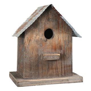 Corrugated Metal Top Wooden Bird House with Back Door, Brown and Gray