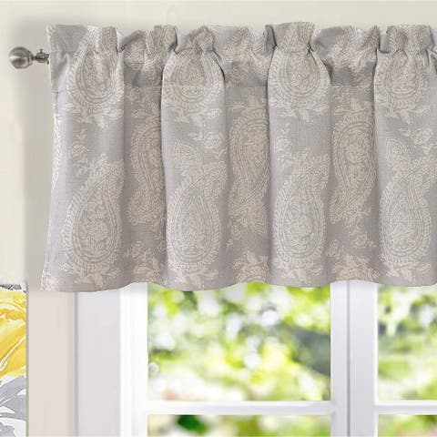 DriftAway Cathy Paisley Block Print Linen Blend Window Curtain Valance - 52'' width x 18'' length