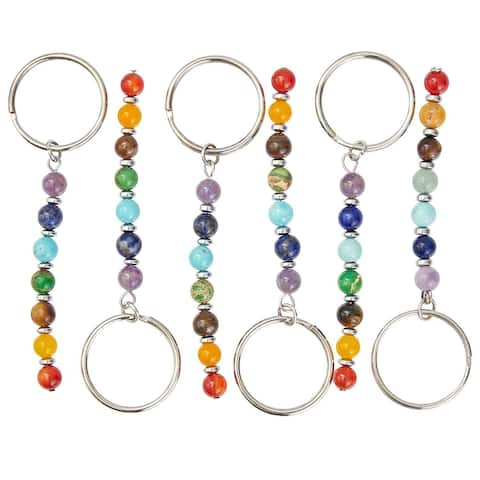 6 Packs Chakra Stone Beads Keychain, Chakra Gemstones Key Chain Keyrings for Keys Wallets Purses Tote Bags, 3 Inches