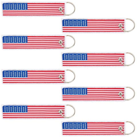 Embroidered American Flag Keychain (8 Pack)