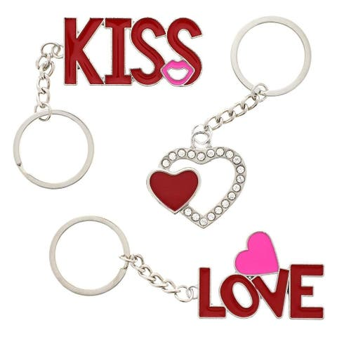 6 Pack Love Keychains Kiss Heart Designs Couple Keychain for Valentine's Day Romantic Gift