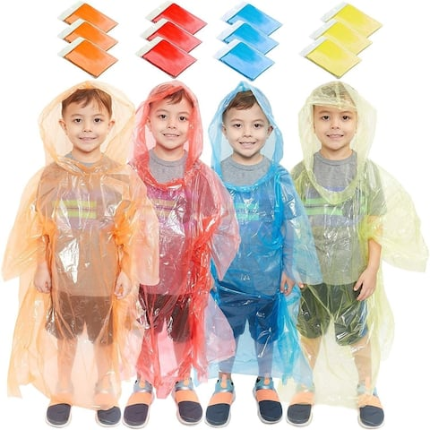 12 Pack Emergency Rain Coat Hooded, Rain Ponchos for Kids Boys with Hood, Disposable Plastic, 4 Colors