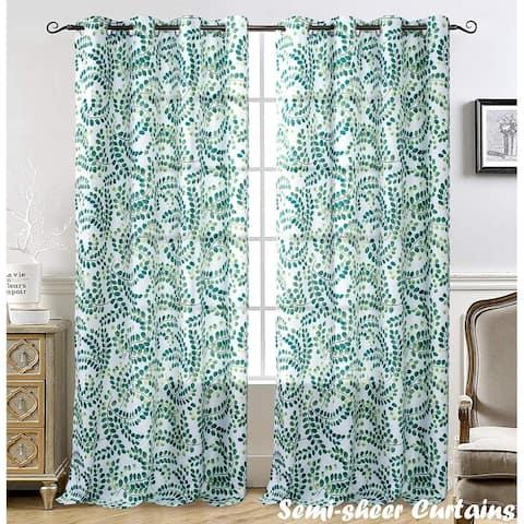 "DriftAway Aleena Window Curtain Panels Semi Sheer CurtainsFloral Scroll Pattern 2 Panels - 50"" width x 84 "" length"
