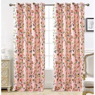 "DriftAway Lauren Colorful Watercolor Tree Pattern Lined Window Curtain 2 Panels - 52"" width x 84 "" length"