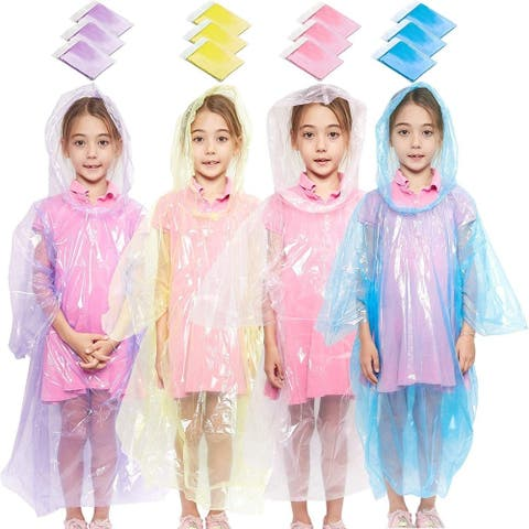 12 Pack Emergency Rain Coat Hooded, Rain Ponchos for Kids Girls with Hood, Disposable Plastic, 4 Colors