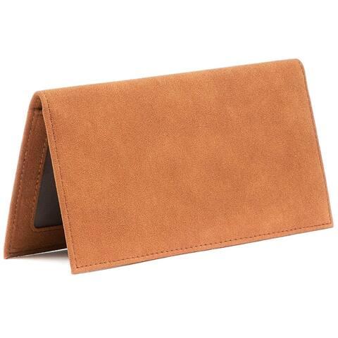 RFID Blocking Checkbook Cover Wallet Card Holder for Personal Checkbook Men Women, Tan