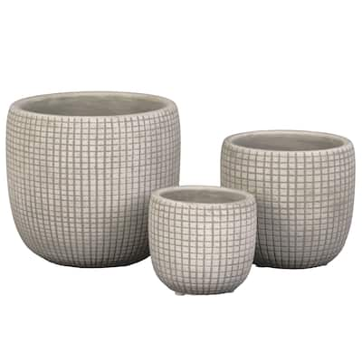 Round Cement Pot with Textured Square Lattice Engraving, Set of 3, Cream