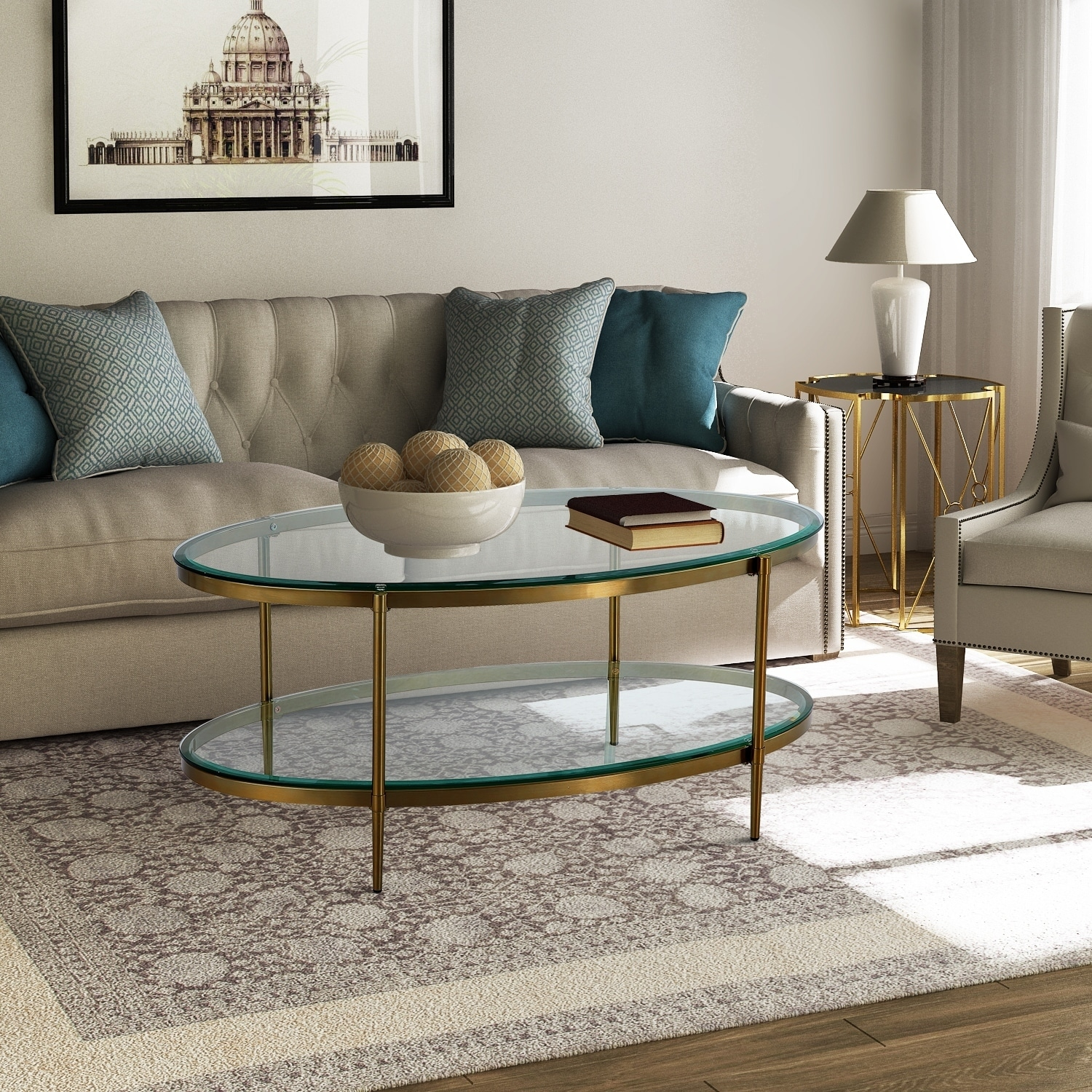 Modern Oval Glass Coffee Table On Sale Overstock 30994552