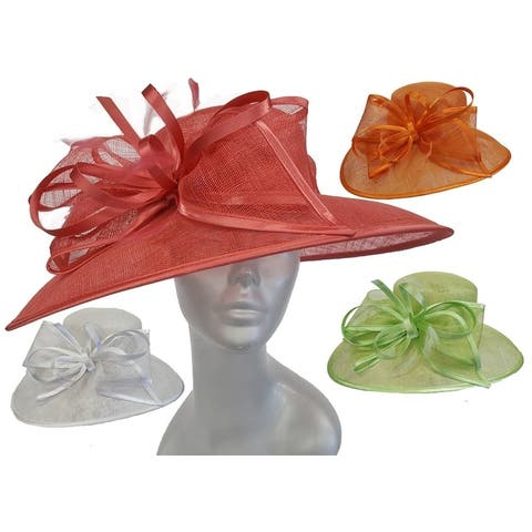 Women's Designer Dressy Kentucky Derby Sinamay Straw Hat