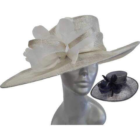 Oversized Metallic Sinamay straw hat for Derby, Preakness, Easter Hat