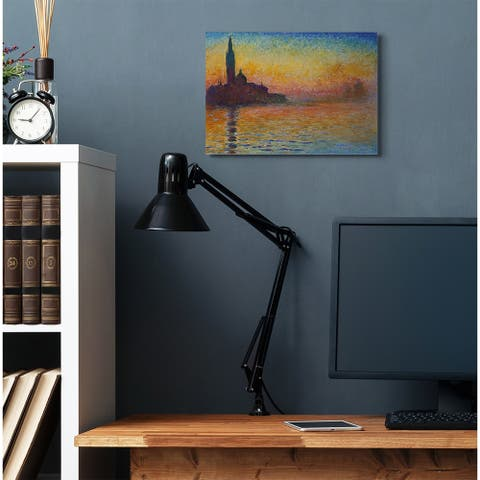 Stupell Industries City Silhouette Rainbow Landscape Monet Classic Painting Canvas Wall Art