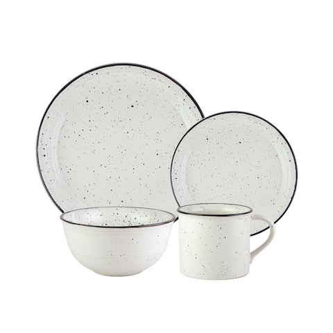 American Atelier Speckled Black and White Stoneware 16-Piece Dinnerware Set