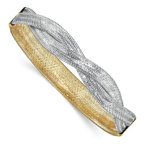 14 Karat and White Rhodium Mesh Reversible Stretch Bracelet by Versil