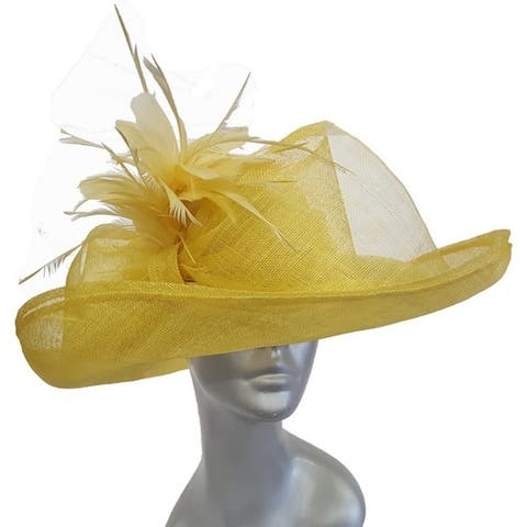 Oversized sinamay straw hat with rounded crown & 6-inch upturned brim