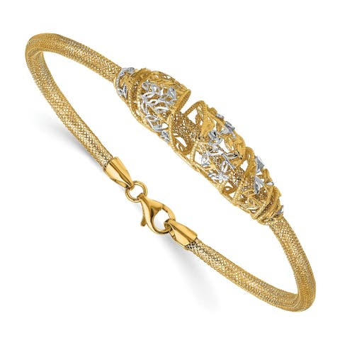 14 Karat and White Rhodium Mesh Diamond-cut Bracelet by Versil