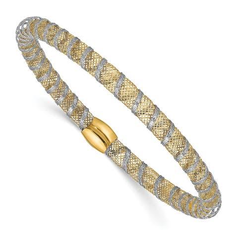 14 Karat Two-tone Wrapped Polished Stretch Bangle by Versil