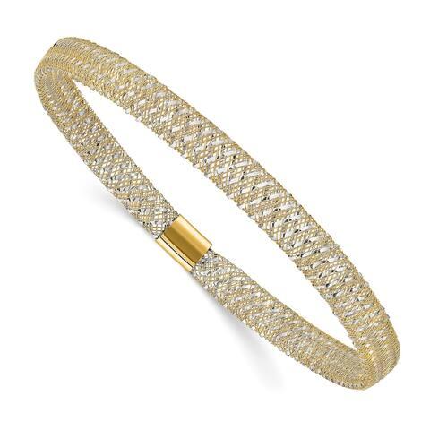 14K Two-tone Polished Stretch Slip On Bangle Bracelet by Versil