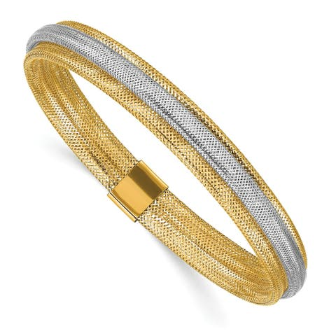 14 Karat Two-tone Polished/Textured Stretch Bracelet by Versil