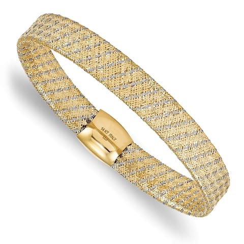 14 Karat Two-tone Fancy Stretch Bangle Bracelet by Versil