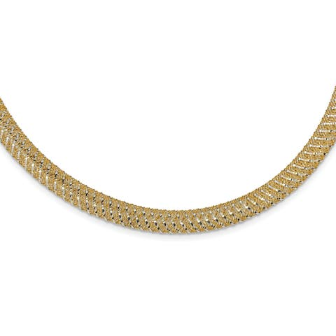 14 Karat Two-tone Polished Mesh Stretch Necklace by Versil