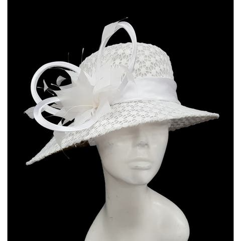 Designer Couture special occasion straw hat covered with lace design