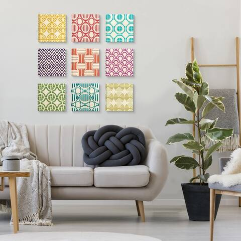 Stupell Industries Retro Shapes Pattern Print Designs, 9pc, each 12 x 12,Canvas Wall Art
