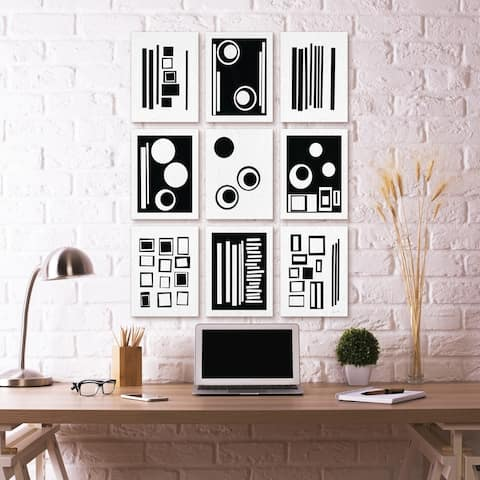 Stupell Industries Black and White Abstract Geometric Shape Designs, 9pc, each 11 x 14,Canvas Wall Art