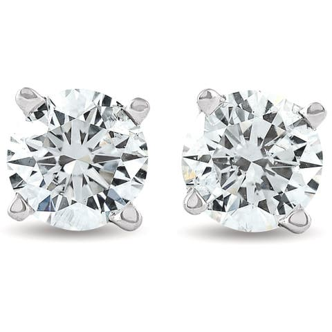2 cttw Round Diamond Studs with Screw Backs Enhanced