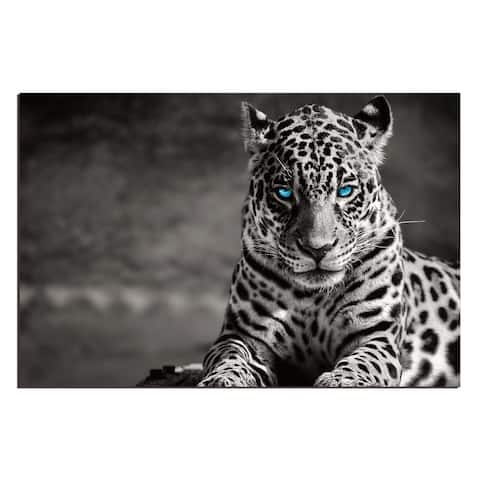 """Spotted Leopard in Black and White"" Acrylic Wall Art (32 In. x 48 In.)"