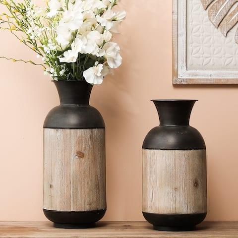 2-Piece Iron and Wood Vase Set