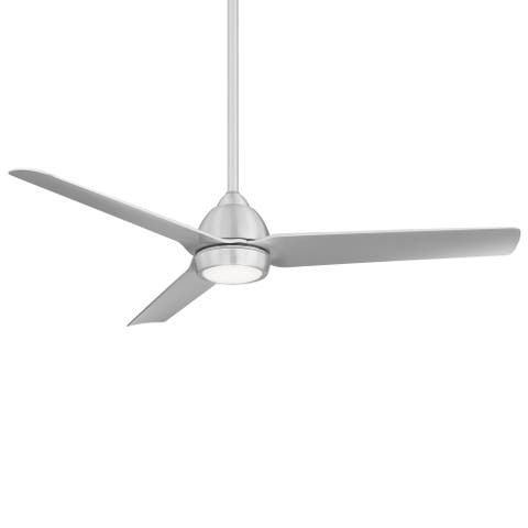Mocha Indoor and Outdoor 3-Blade Smart Compatible Ceiling Fan 54in Brushed Aluminum with 3000K LED Light Kit with Remote