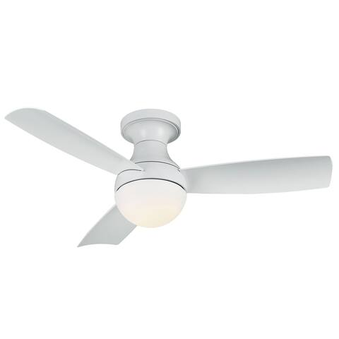Orb Indoor and Outdoor 3-Blade Smart Compatible Flush Mount Ceiling Fan 54in Matte White with 3000K LED Light Kit with Remote