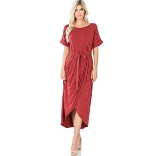JED Women's Short Sleeve Tulip Midi Dress with Waist Tie