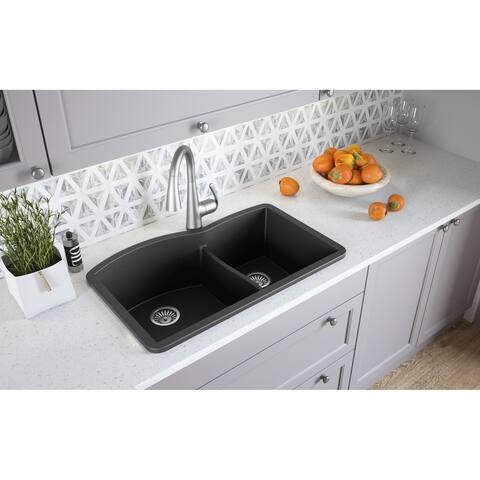 """Lavello Granite Composite 32.5"""" Drop in Double Bowl Kitchen Sink Profondo"""