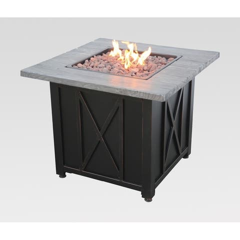 Endless Summer LP Gas Outdoor Fire Pit with Wood Look Resin Mantel