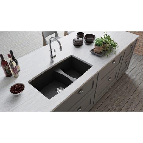 """Lavello Granite Composite 33"""" Undermount Double Bowl Kitchen Sink Biano"""