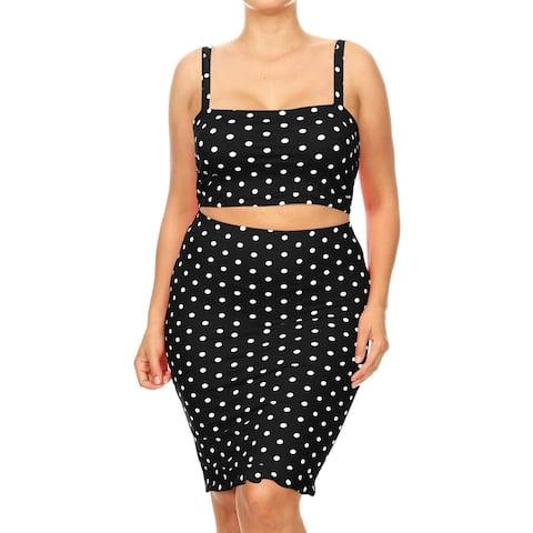 Women's Polka Dot Pattern Plus Size Two-Piece Midi Dress