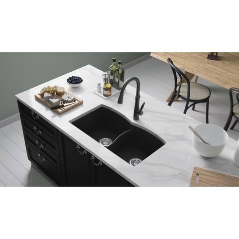 "Lavello Granite Composite 31"" Undermount Double Bowl Kitchen Sink Orion"