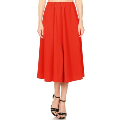 Women's A-Line Pleated High Waist Solid Midi Ruffled Skirt