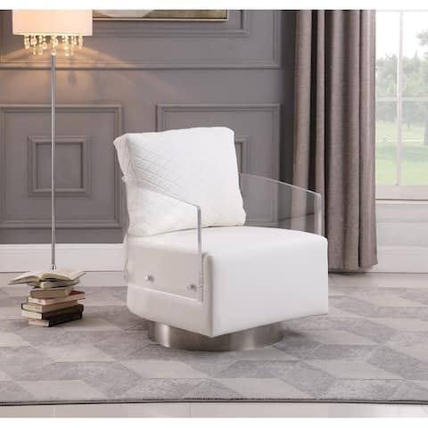 """Somette Contemporary Acrylic Back Swiveling Accent Chair - 32.2"""" x 31"""" x 34"""""""