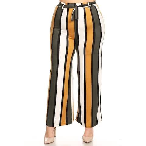 Women's High Waist Drawstring Wide Leg Striped Casual Plus Size Pants