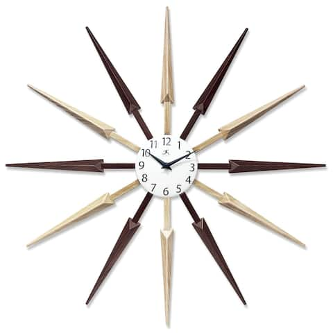 Celeste 24 inch Sunburst Multi-Color Mid Century Wall Clock - Light/Dark Wood Combination