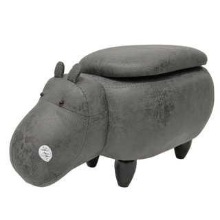 Kids Upholstered Hippo Ottoman with Storage
