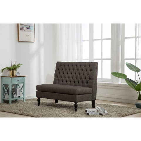 Hearth Upholstered Settee Bench with Spindle Legs