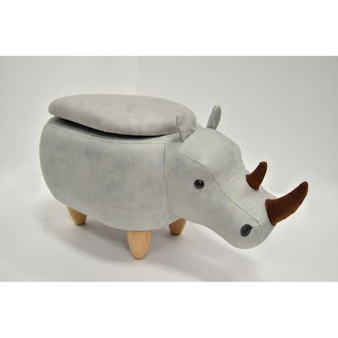 Kids Upholstered Rhino Ottoman with Storage